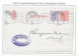 DANEMARK - 1923 - CP ENTIER TYPE CHRISTIAN X EMISSION 1921 De COPENHAGUE => BASEL (SUISSE) - Interi Postali