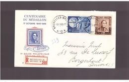 """Belgio - 9 11 1949 """" Centenaire Du Medaillon"""" Raccomandata Con Valore Upu 1949 - Belgium"""