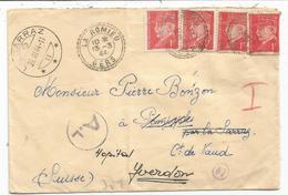 PETAIN 1FRX4 1 REPLIE LETTRE FACTEUR BOITIER LA ROMIEU 13.3.44 GERS POUR SUISSE + CENSURE NAZI - 1941-42 Pétain