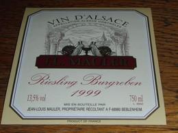 étiquette Vin Alsace Riesling Burgreben 1999 Bleblenheim Mauler  Escargot Escargots - White Wines