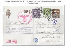 DANEMARK - 1941 - CP ENTIER Avec CENSURES De COPENHAGUE => ZÜRICH (SUISSE) - Interi Postali