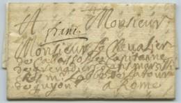 LàC 1708 En Port Payé Monteux Vaucluse Pour Rome Par Honoré De Chiavari-Cabassole Capitaine Des Grenadiers à Marseille . - Marcofilie (Brieven)