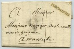 Marque Linéaire FORCALQUIER / LàC 1783 Pour Marseille . Naissance Chez Les De Lombard De Château-Arnoux . Cachet De Cire - Marcofilie (Brieven)