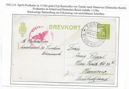 DANEMARK - 1943 - CP ENTIER TYPE CARAVELLE Avec CENSURE De TONDER => HANNOVER (GERMANY) - Interi Postali