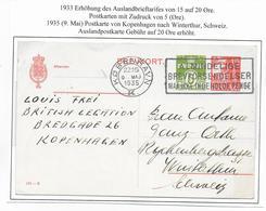 DANEMARK - 1935 - CP ENTIER TYPE CARAVELLE  De COPENHAGUE => WINTERTHUR (SUISSE) - Interi Postali