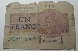 1919/21 - France - UN FRANC, Chambre De Commerce De Paris - S. A 36 - 0,055,390 - Chambre De Commerce