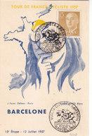 POSTAL OFICIAL 15ª ETAPA TOUR DE FRANCE - PERPIGNAN-BARCELONA AÑO 1957 CON MATASELLO ESPECIAL ESPAÑA.OCASION LIQUIDACION - Radsport