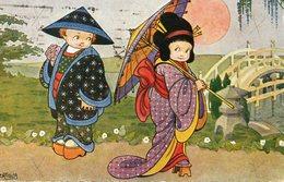 CPA.  Illustrateur Bertiglia.  Enfants Chinois Ou Japonais Avec Un Parapluie. 1923. - Bertiglia, A.