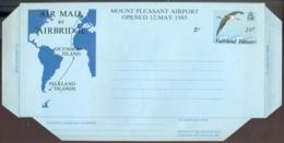 Falkland Islands 1985 Aerogramme 26 P Plus 2 P Mount Pleasant Airport Opened Unused - Falklandinseln
