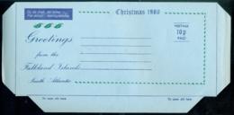 Falkland Islands 1980 Aerogramme 10 P Christmas Unused - Falkland