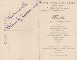 DOUBLE CPA 84 FONTAINE DE VAUCLUSE  MENU HOTEL PETRARQUE 1919 - France