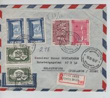 CBPN187/ TP 1050-1055(2)-1057(2)-1059 S/L.recommandée C.SP Nations Unies BXL 16/10/58 > Finfande Helsinki C.d'arrivée - Briefe U. Dokumente