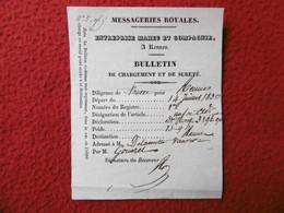 MESSAGERIES ROYALES DILIGENCE DE NANTES POUR RENNES ENTREPRISE MAHEU A RENNES 1830 - 1800 – 1899
