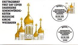 """BRD Schmuck-FDC Freimarken """"Sehenswürdigkeiten: Russische Kirche, Wiesbaden"""", Mi 1535 ESSt 4.6.1991 BONN 1 - FDC: Enveloppes"""