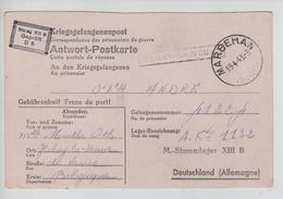 CBPN190/ CP Réponse PDG-POW C.Marbehan 19/4/43 + Griffe Habay La Neuve > Stamnlager XIII B Allemagne Geprüft - Storia Postale