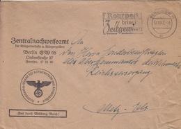 Lettre Pré-imprimée (Zentralnachweiseamt...) Obl Flamme Berlin-SW 11 Ab (Rohrpost Zeitgewum.) En Franchise Le 17/10/41 - Germania