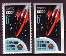 RUSSIA \ RUSSIE - 1963 - Lancement De La Sonde Luna 4  - 2v ** Dent.+ Non Dent. - 1923-1991 USSR