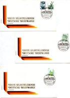 """BRD 3 Sonderumschläge ERSTE SELBSTKLEBENDE DEUTSCHE BRIEFMARKE """"Sehenswürdigkeiten"""", Mi 1531/34 ESSt Mai 1991 BONN 12 - FDC: Enveloppes"""
