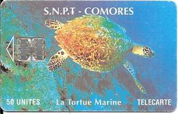 CARTE-PUCE-50U-SC7-SNPT COMORES-TORTUE MARINE-UTILISE-V°8 N°ROUGE 00005725 V°en Bas A Droite-TBE - Tartarughe