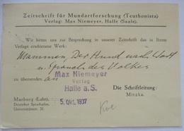 Mundart Werbung Mundartforschung Teuthonista Halle Saale 1937 (1775) - Timbres
