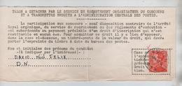 CBPN193/ TP 435a Poortman S/Talon De Participation à Un Concours De Recrutement Adm.des Postes C.Eupen 9/4/49 - Belgio