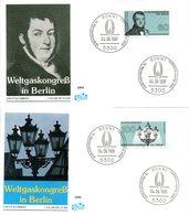 """BRD 2 Schmuck-FDC """"Weltgaskongreß, Berlin"""" Mi. 1537/38 ESSt 4.6.1991 BONN 1 - FDC: Enveloppes"""