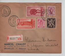CBPN195/ TP 818-819 Surtaxe AntiTuberculeux + 3TP S/L.Recommandée C.BXL 21/12/1949 > Vilvorde - Briefe U. Dokumente