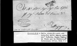 CG17 - Lett. Da Torino X Bellinzago 6/12/1839  - Bollo Stamp. Diritto Nero Con Data + Bollo Amm.vo Azzurro - ...-1850 Voorfilatelie