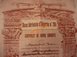 Base Aérienne D Algérie N° 201 - Certificat 1937 Honneur Patrie - Saoura Tidikelt Hoggar - Luchtvaart