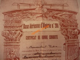 Base Aérienne D Algérie N° 201 - Certificat 1937 Honneur Patrie - Saoura Tidikelt Hoggar - Aviation