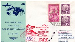 Frankfurt Wien Tokyo - Polar-Kurzroute 1957 SAS - Eröffnungsflug Inaugural Flight 1er Vol - Saarland Sarre - Japan Japon - [7] Federal Republic