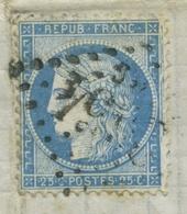Cérès 25c Bleu Type I No60a. Gros Chiffre 2654BG. Cadre à Droit Manquant Et Double. Convoyeur StationAutun A Nevers - 1849-1876: Période Classique