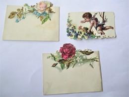 Aniens CHROMO DECOUPI_lot De 3 Pieces_Ange Au Dessus Nid Fleuri Avec Oisillon Et Fleurs Roses Muguet Myosotis_TBE - Kinderen