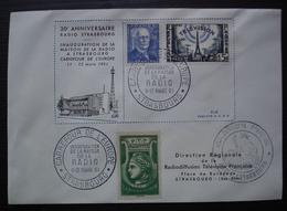 Strasbourg  Inauguration Maison De La Radio 1961 Avec Timbre Radiodiffusion Vert 1937 + Autres Voir Photos - Marcofilia (sobres)