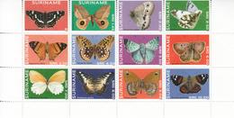 2014 Surinam Butterflies Complete Block Of 12  MNH - Suriname