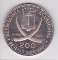 Guinée Equatoriale 200 Pesetas 1970 Coupe Du Monde De Football, Argent Pur - Aequatorial-Guinea