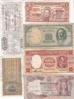 LOT DE 17 BILLETS, DIFFÉRENTS PAYS. ARGETNINA, PORTUGAL, CHILE, URUGUAY ET ESPAÑA. BILLETES USADOS BILL USED -LILHU - Monnaies & Billets
