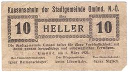Österreich Austria Notgeld 10 HELLER FS239 GMUND /192M/ - Autriche