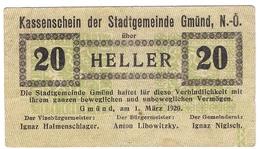 Österreich Austria Notgeld 20 HELLER FS239 GMUND /192M/ - Autriche