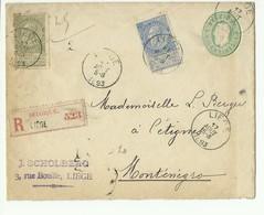 20 Et 25 Centimes FINES BARBES En Affr. Compl. Sur E.P. Env. 10c.(Em. 1869)  Obl. Sc LIEGE Le 17 Août  1893 En Recommand - Enveloppes