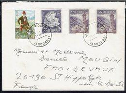Andorre - 1979 - Affranchissement à 19 Pta Sur Enveloppe De Santa Coloma Pour St Hippolyte Sur Le Doubs (Fr) B/TB - - Lettres & Documents