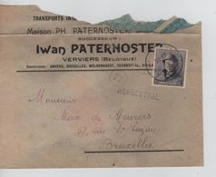 CBPN199/ TP 169 Albert Casqué S/L.Iwan Paternoster C.Verviers 1920 + Griffe Herbesthal > BXL C.d'arrivée 31/3/1920 - Storia Postale