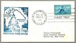 FIRST TRIP Highway Post Office: BALTIMORE, MARYLAND & MARTINSBURG, WEST VIRGINIA, 20 Agosto 1955 - Correo Postal