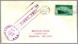 FIRST TRIP Highway Post Office: SAGINAW & DETROIT, MICHIGAN, 8 Octubre 1946 - Correo Postal