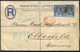 1887 GB Registered Letter Stationery, London EC - Elberfeld Germany. C.A.& E. Speyer & Co. PERFIN - Storia Postale
