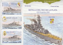2009 Uruguay Graf Spee Naval Battle WWII Ships Souvenir Sheet   Complete  MNH - 2. Weltkrieg