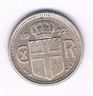 10 AURAR 1922 (mintage 300000ex) IJSLAND /1750/ - IJsland