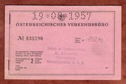 Heft, Oesterreichisches Verkehrsbuero, Bundesbahnen, 2 Monate, 2 Scheine, Gmunden 1957 (91671) - Europa