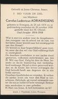 CAROLUS ADRIAENSSENS        EVERGEM 1878   ALDAAR OVERLEDEN  1956 - Décès
