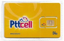 Turkey - Pttcell - Yellow 64 Kb GSM SIM2 Mini (Type 1), NSB - Turquia